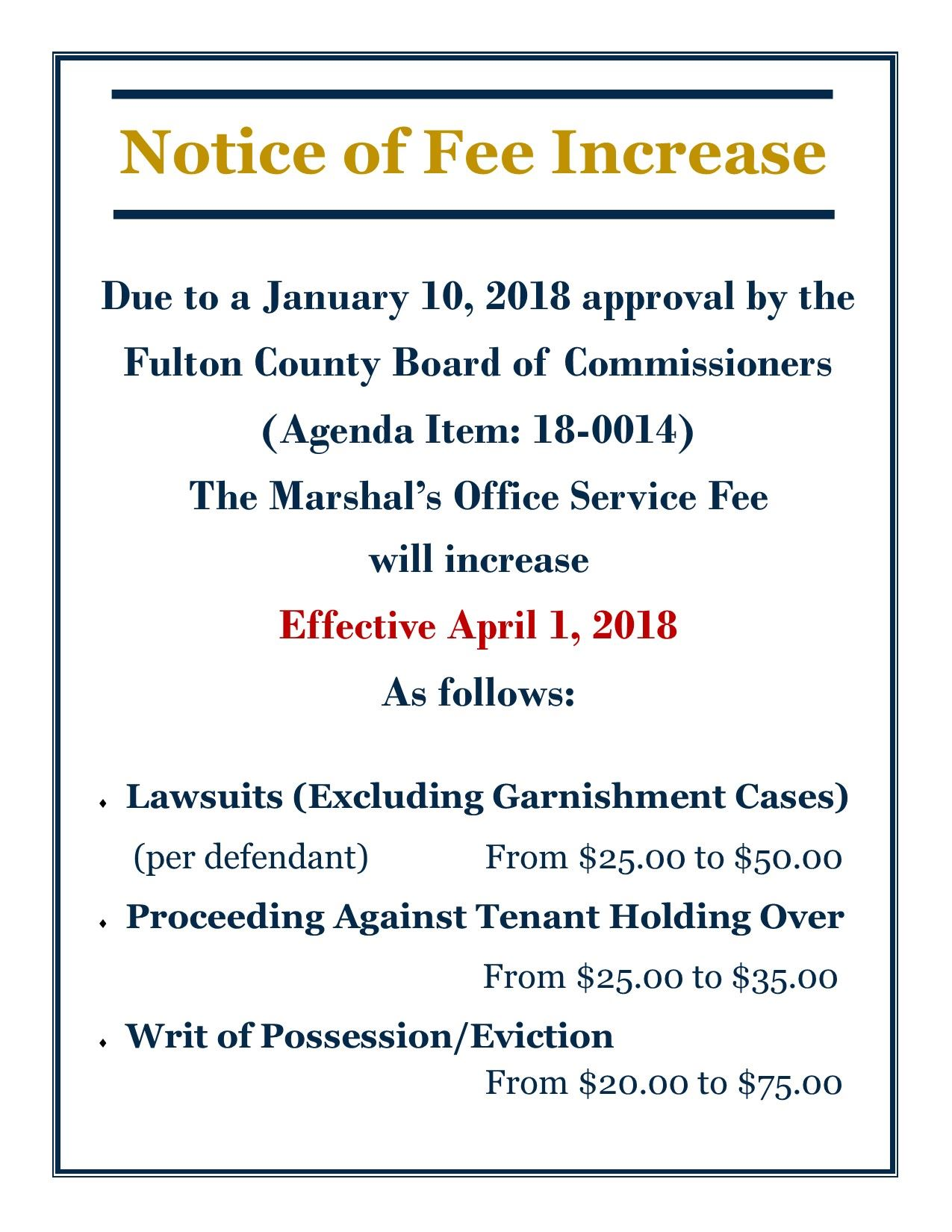 Notice of Fee Increase