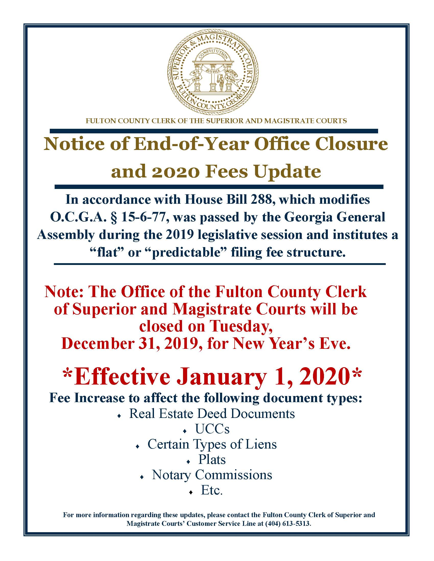 Notice of Office Closure and 2020 Fee Update