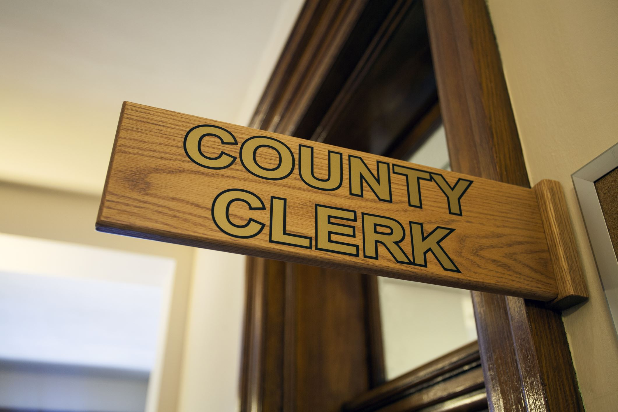 County Clerk sign photo istock